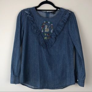 Jean shirt with cat embroidery size S